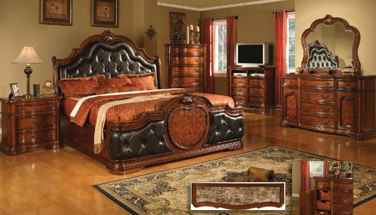 Antique Style Cherry Finish Classic Bedroom W Optional