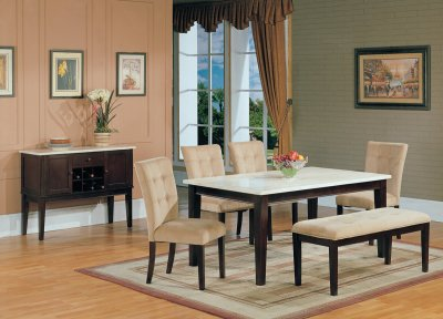 White Faux Marble Top Modern 5 Pc Dining Set W Options