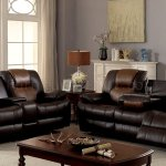 Pollux Reclining Sofa Cm6864 In Two Tone Brown Leatherette