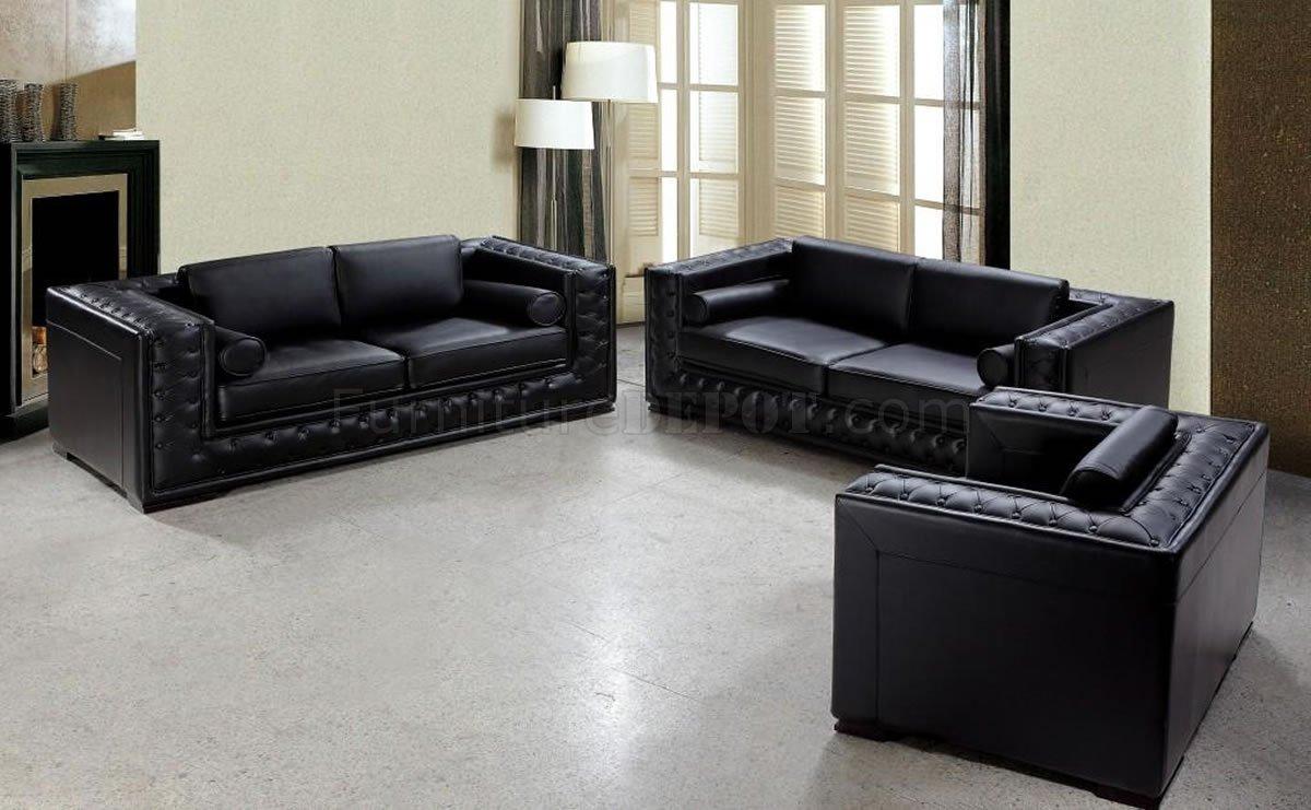 dublin bt0697 vig top grain italian leather living room set black