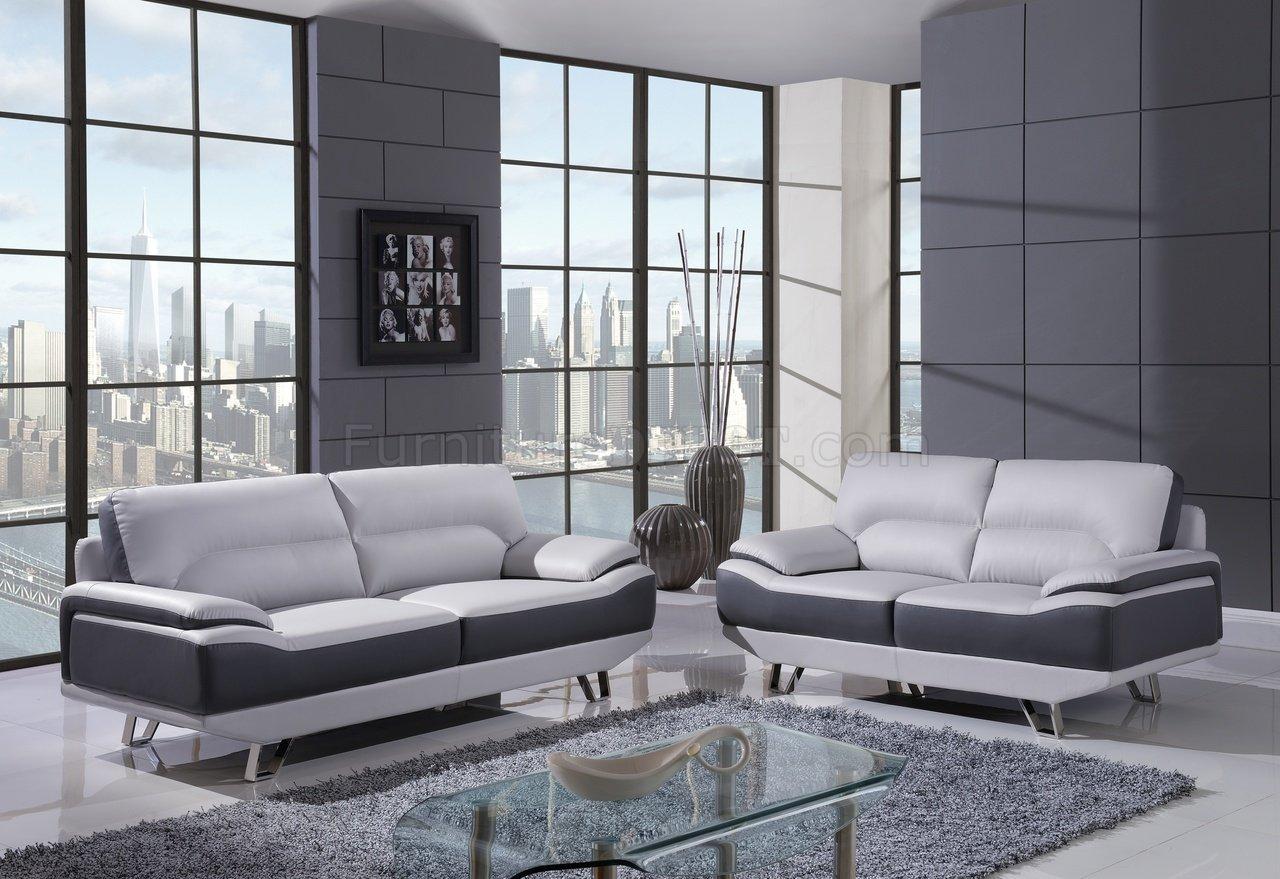 U7330 Sofa In Light Amp Dark Grey Bonded Leather By Global