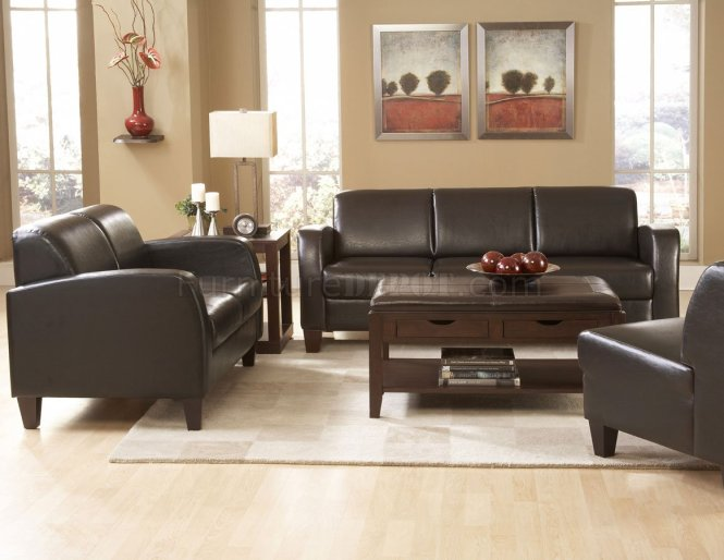 Living Room Black Leather Sofa With Brown Velvet Top Connected By Ottoman Coffee Table