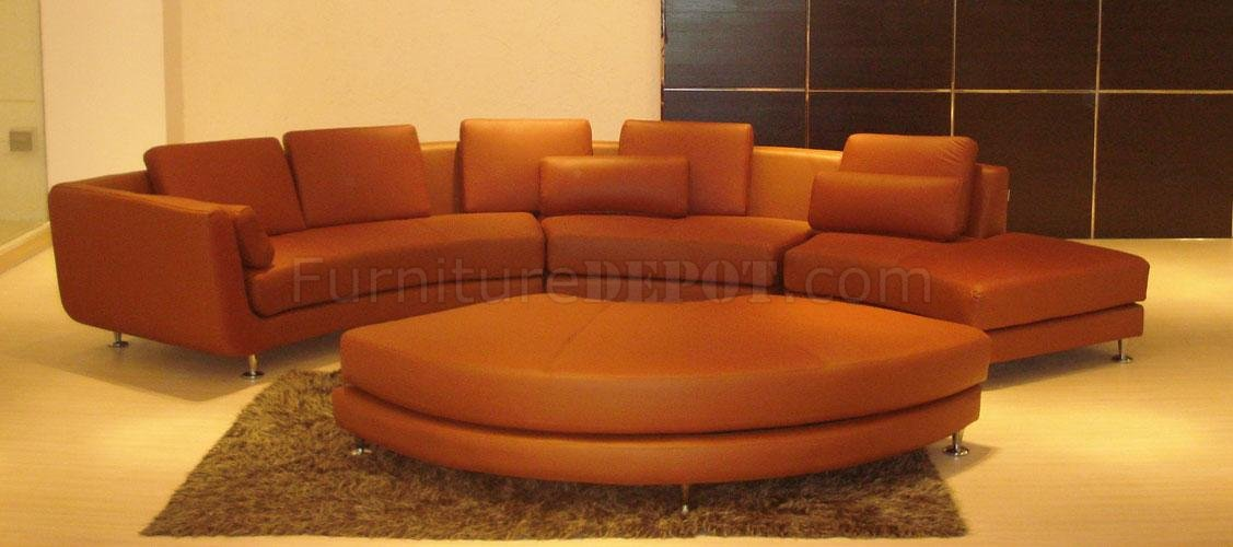 Ultra Modern 4 Piece Modular Leather Sectional Sofa A94 Brown