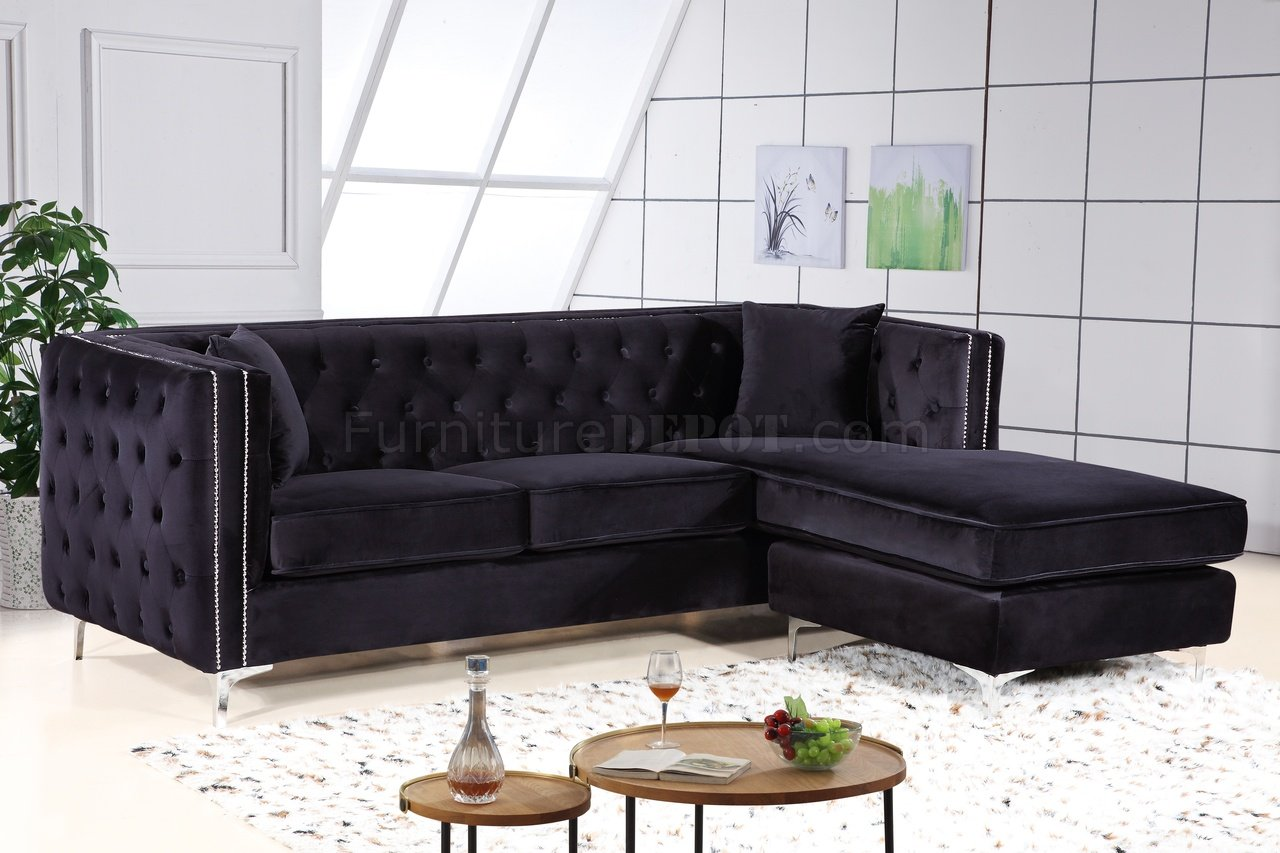 Jesse Sectional Sofa 668 In Black Velvet Fabric By Meridian
