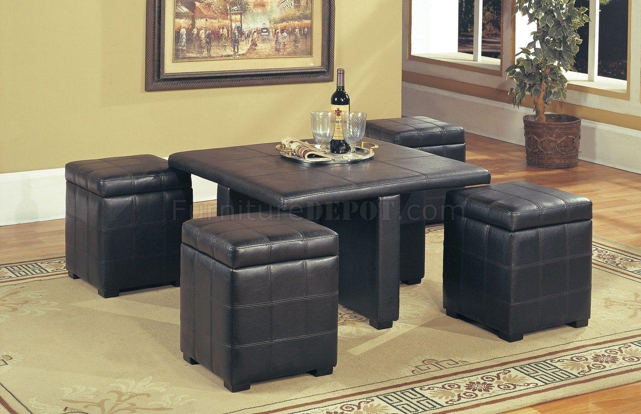 dark brown leather stylish coffee table