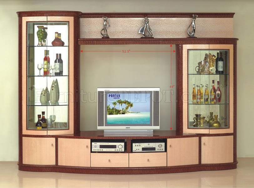 Maple Finish Contemporary Wall Unit With Two Display Cabinets