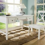 White Finish Modern Home Office Desk Chair Set
