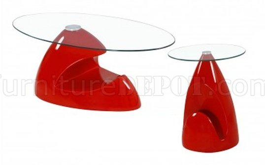 35c coffee table in red w clear glass
