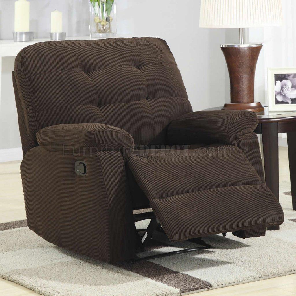 Brown Corduroy Fabric Modern Rocker Recliner Chair W