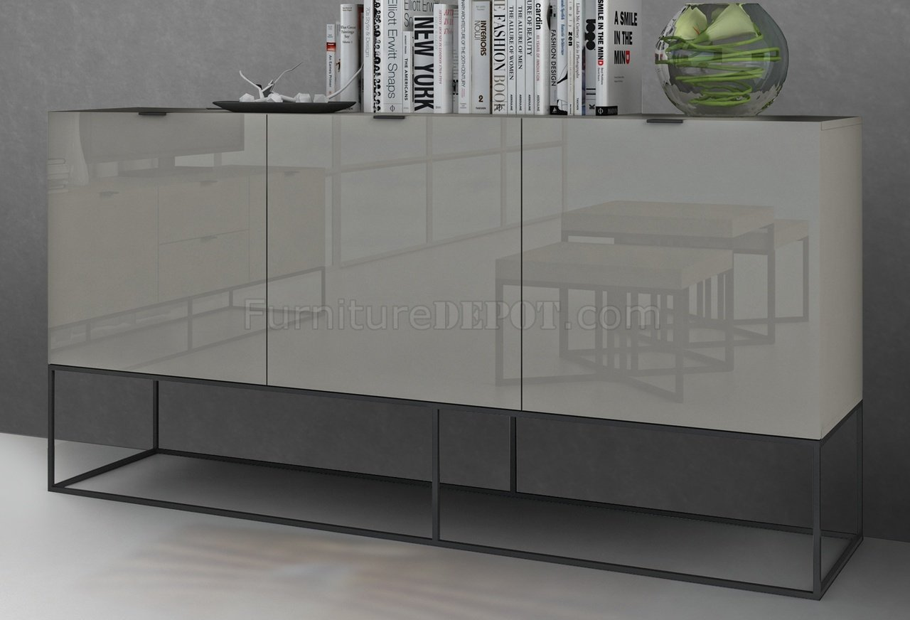 Vizzione Buffet In High Gloss Light Gray Lacquer By Casabianca