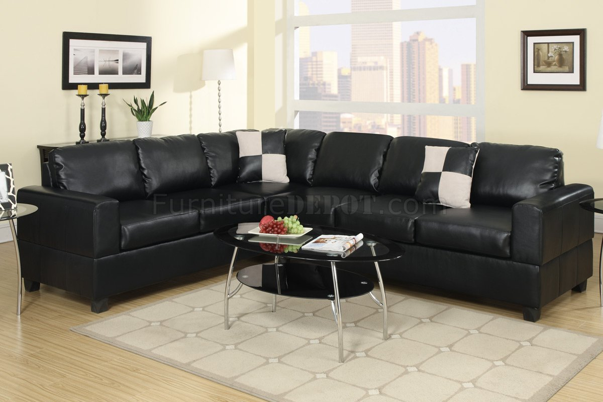 f7630 sectional sofa in black faux