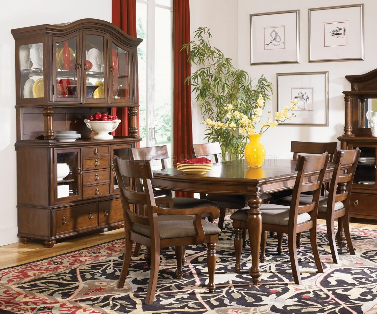 Rich Brown Cherry Finish Traditional 8PC Dining Room Set