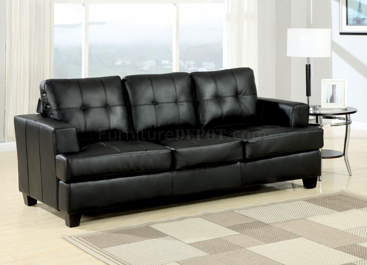 Black Bonded Leather Modern Sofa WQueen Size Sleeper