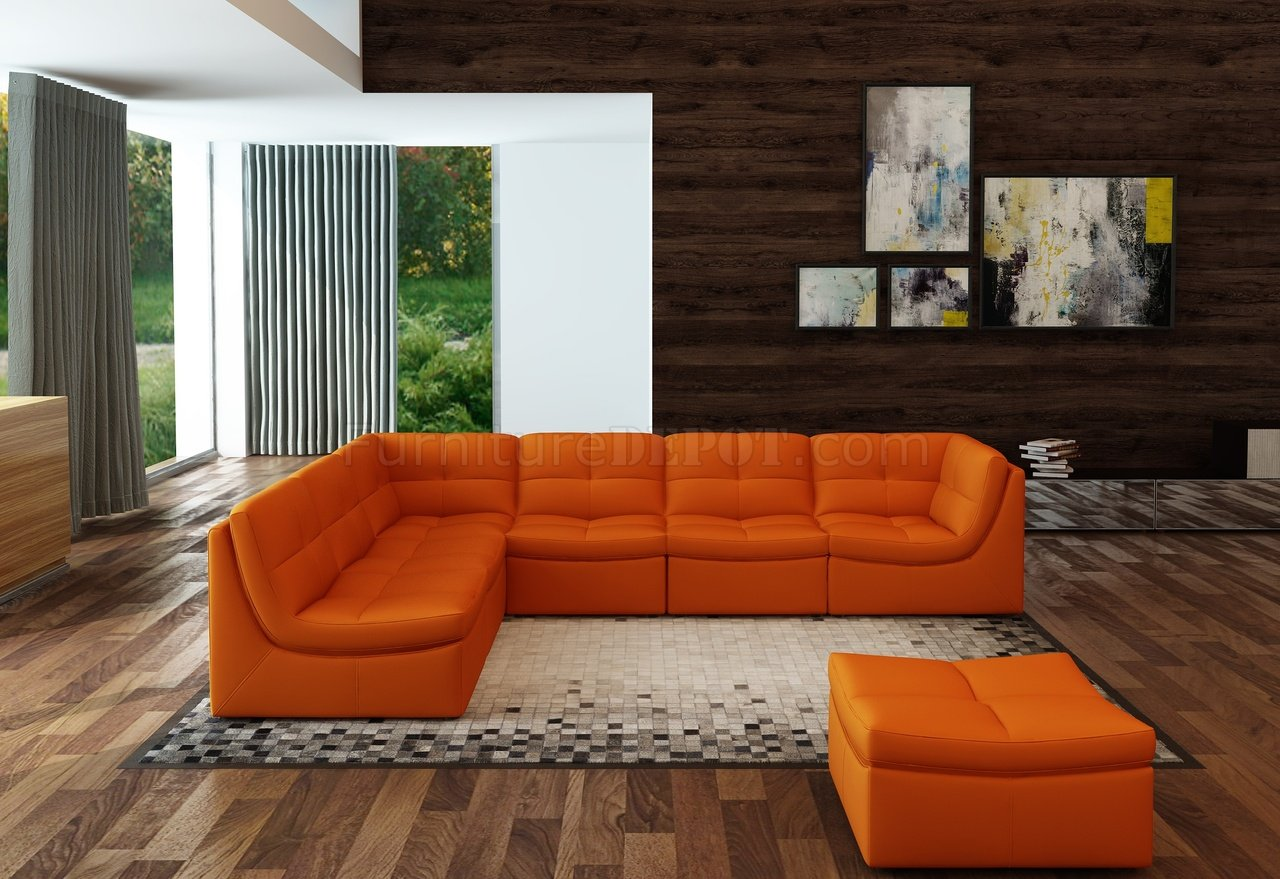 Lego Modular Sectional Sofa 7Pc Set In Pumpkin Leather By JampM