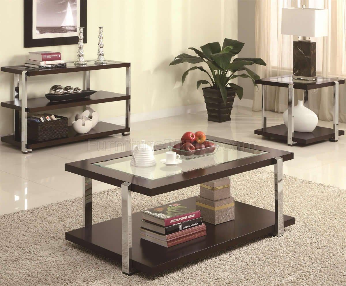 Chrome Legs Amp Center Glass Top Modern Coffee Table WOptions