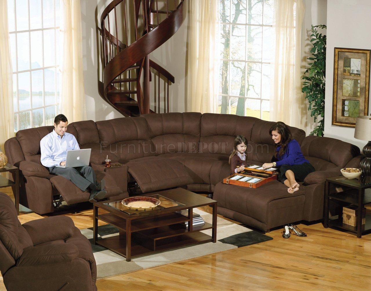 Espresso Fabric Compass Modular Sectional Sofa W Options