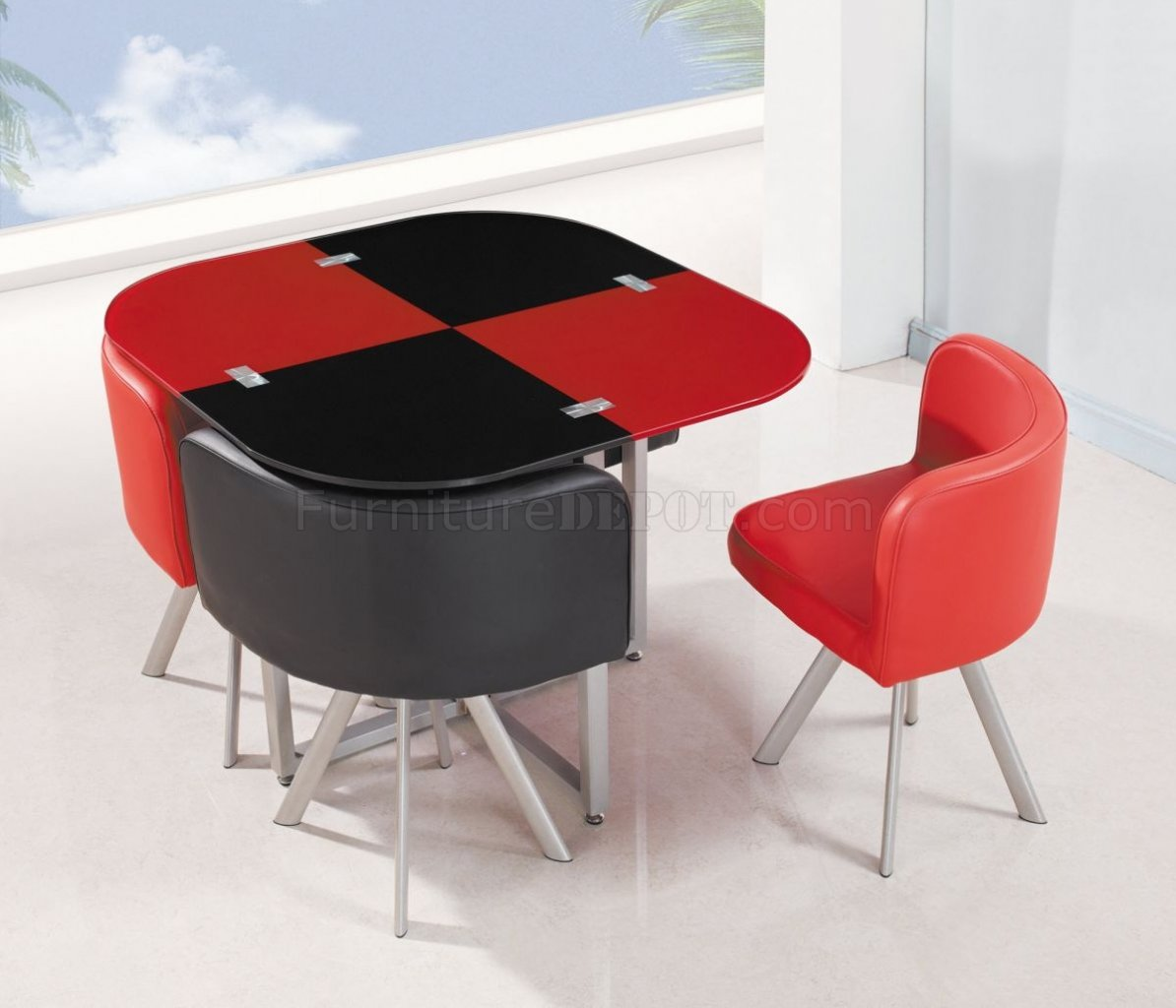 d536dt dining set 5pc in black red by