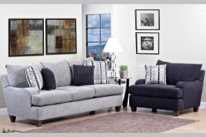Light Grey Fabric Modern Sofa Accent Chair Set
