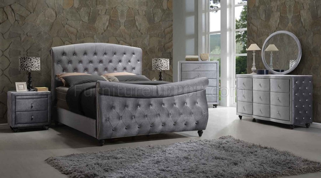 Hudson Bedroom In Grey Velvet Fabric WSleigh Bed Amp Options