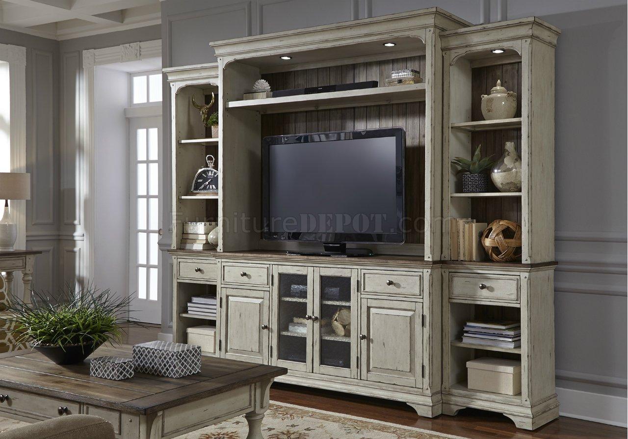 Morgan Creek TV Unit WHutch 498 ENTW Antique White By Liberty
