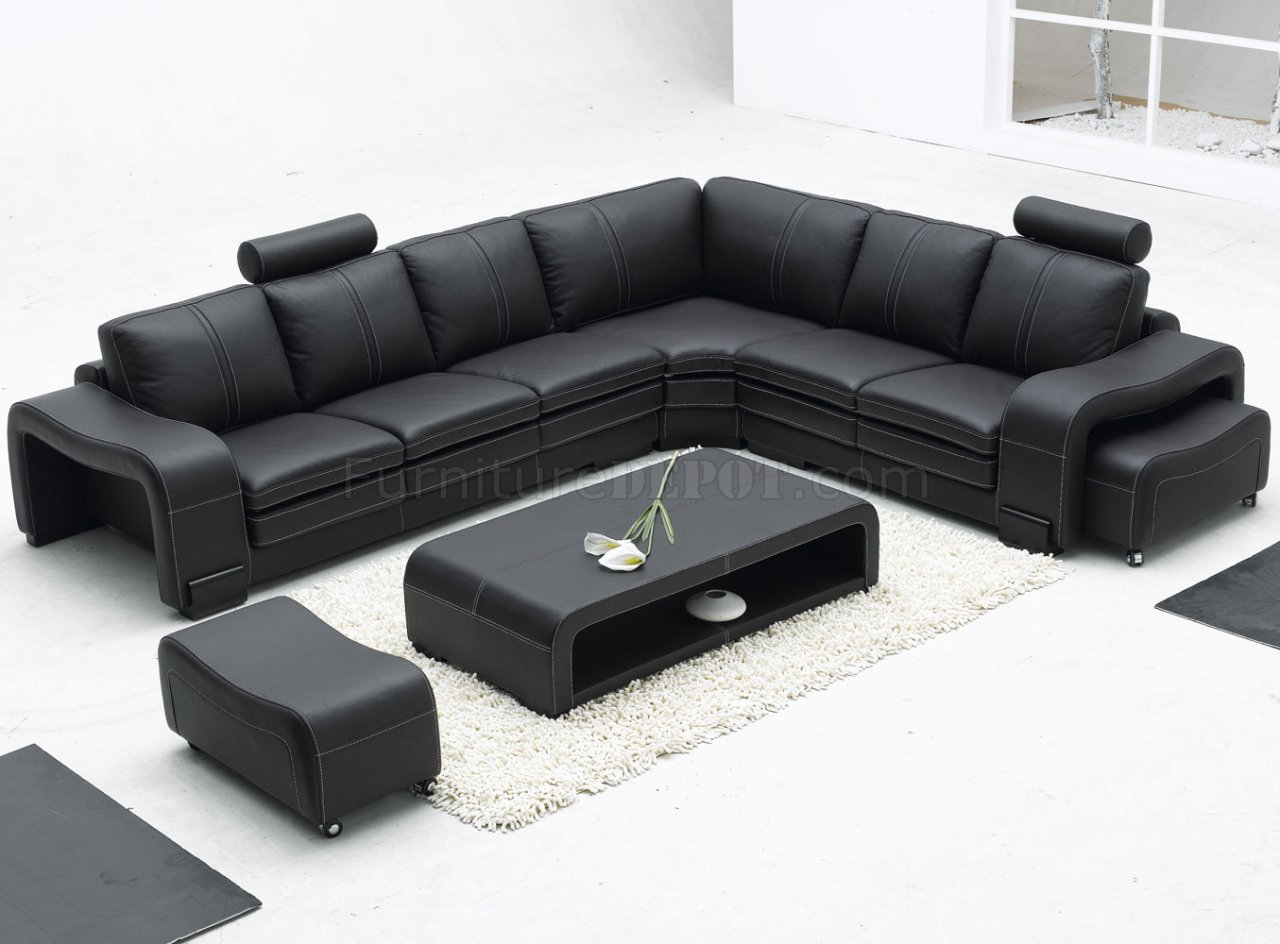 Black Leather Modern Sectional Sofa W Ottoman Coffee Table