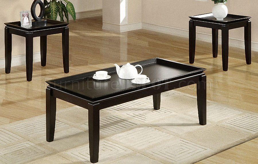 dark espresso finish 3pc coffee table
