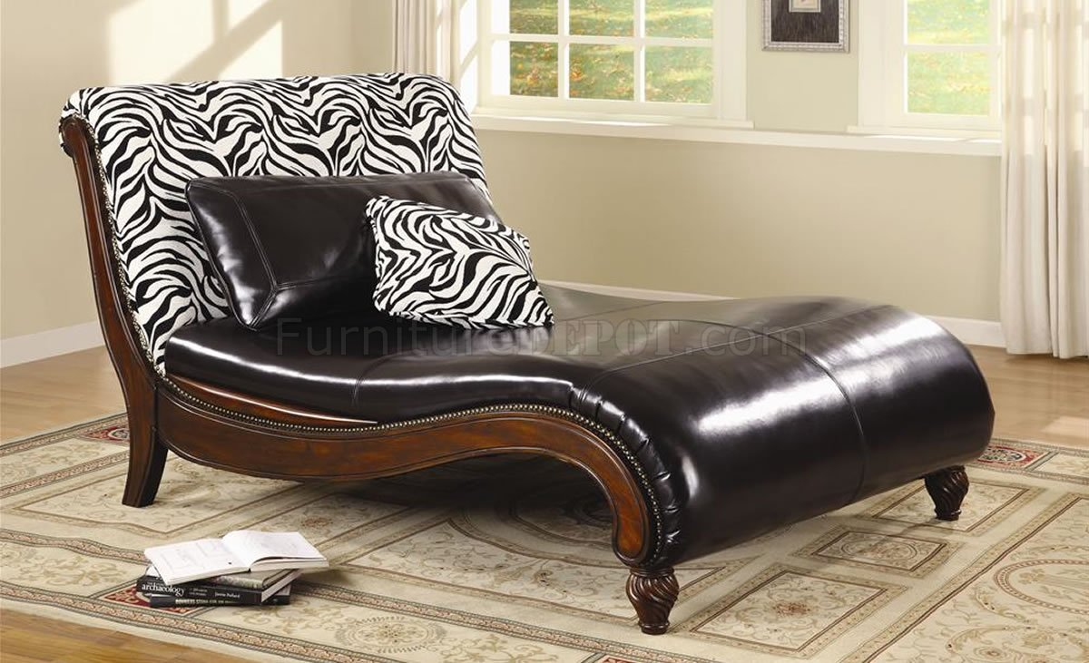 Dark Brown Bycast Leather Stylish Chaise Lounge W Zebra Back