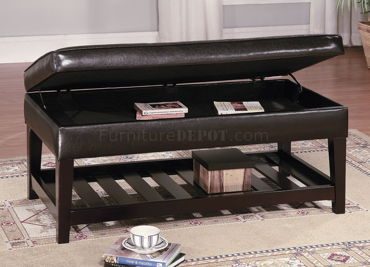 brown leather top bench coffee table w