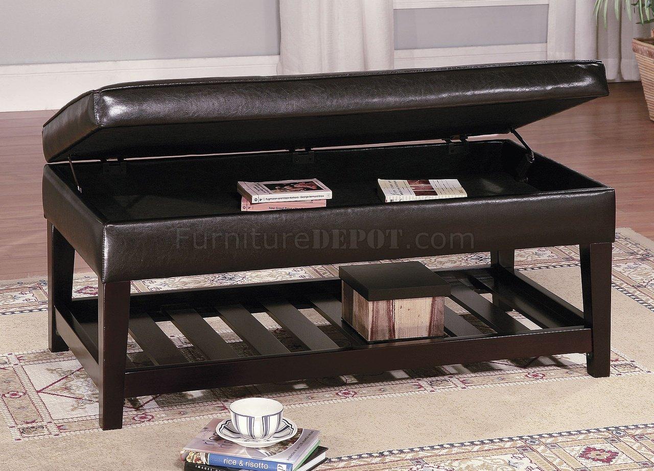 Brown Leather Top Bench Coffee Table W Shelf Amp Slat