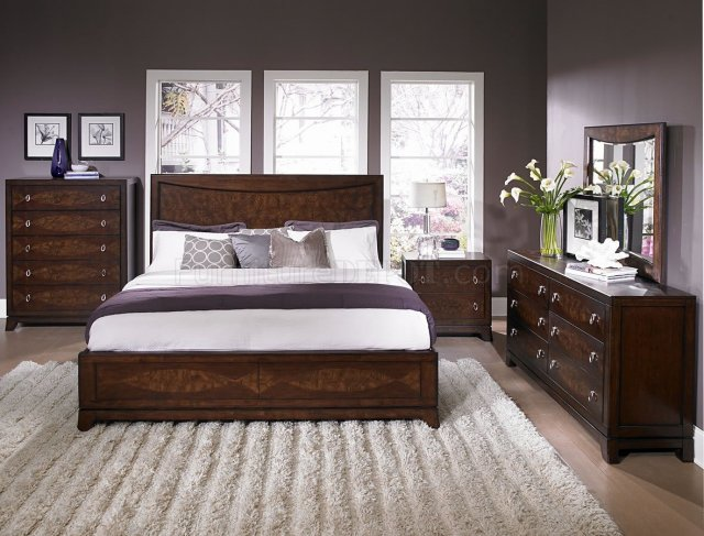 Warm Brown Cherry Finish Traditional Bedroom w/Optional Items