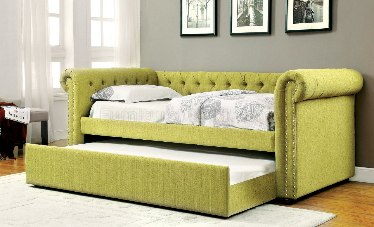 Leanna Cm1027gr Daybed Amp Trundle Set In Green Fabric