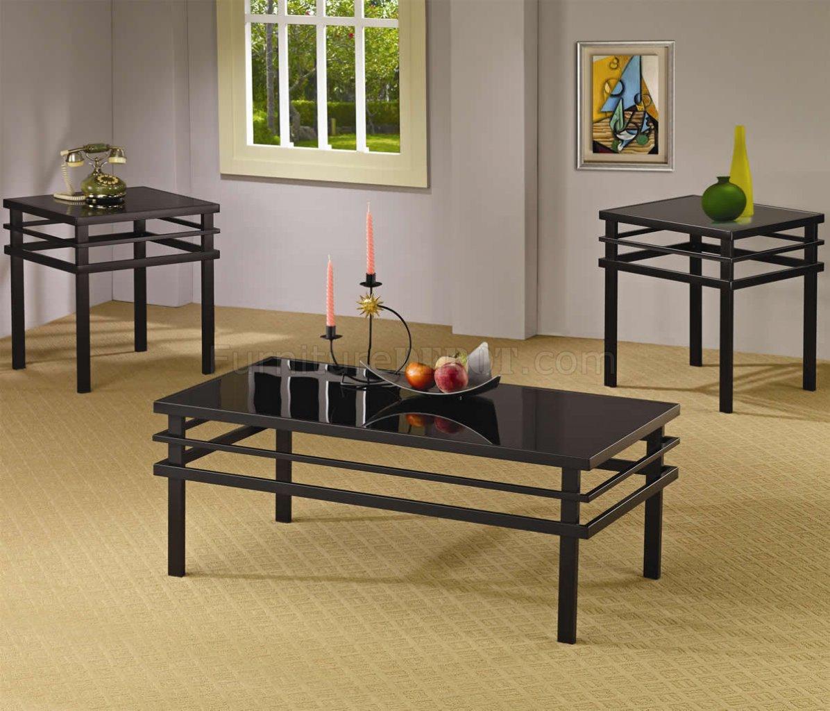 Black Metal Base Glass Top Modern 3pc Coffee Table Set