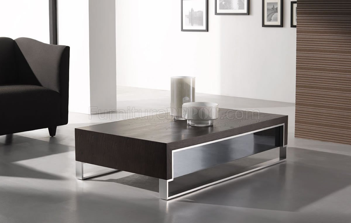 Wenge Finish Contemporary Coffee Table WSide Glass