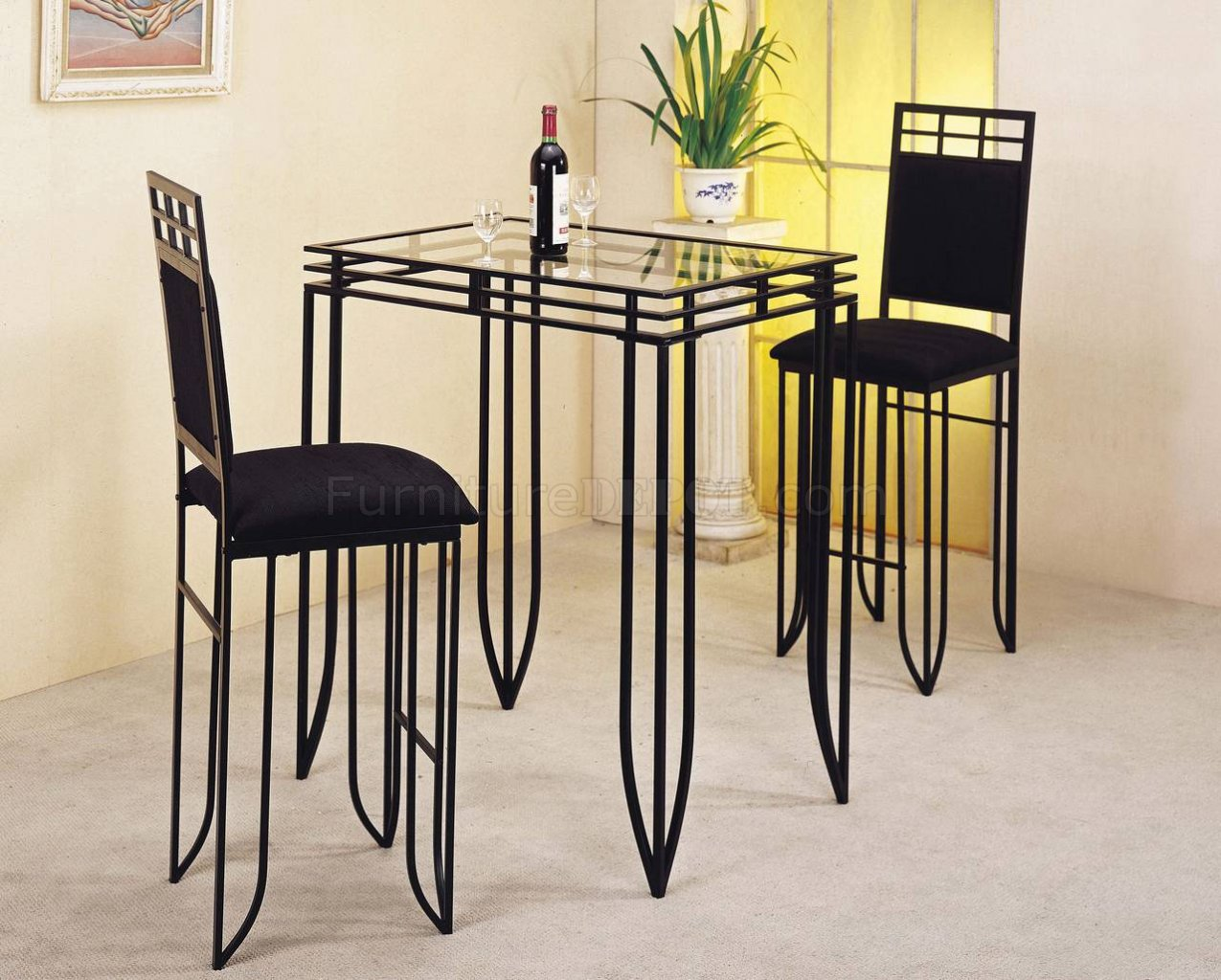 Black Metal Base Glass Top Counter Height Dinette Table