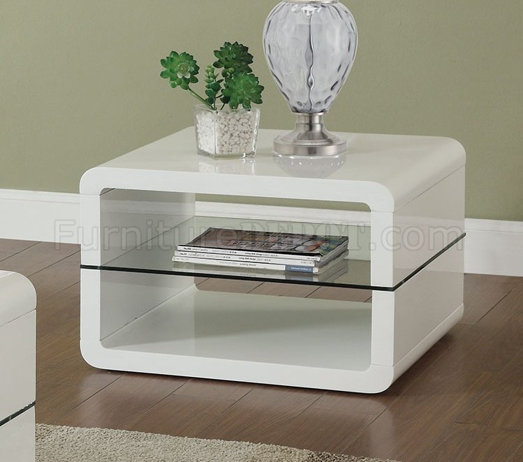 703268 Coffee Table 3Pc Set In Glossy White By Coaster