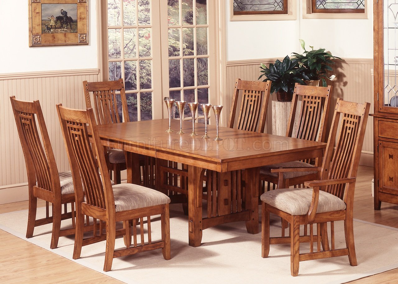Mission Oak Finish Casual Dining Room Table WOptions