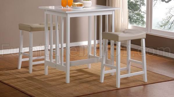 White Finish Modern Elegant 3Pc Counter Height Dinette Set