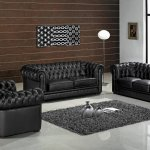 Leather Ultra Modern 3 Piece Living Room Set Paris Black