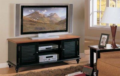 Two Tone Antique Black Amp Oak Finish Tv Stand W Storage