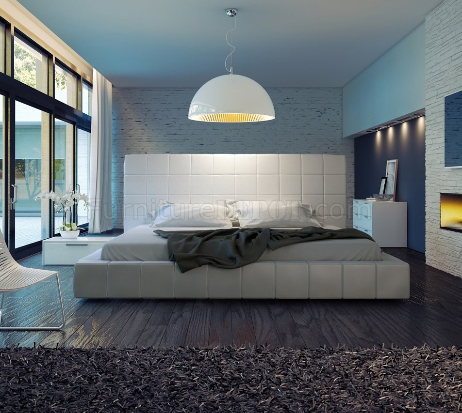 MD321 Thompson White Leather Bed By Modloft