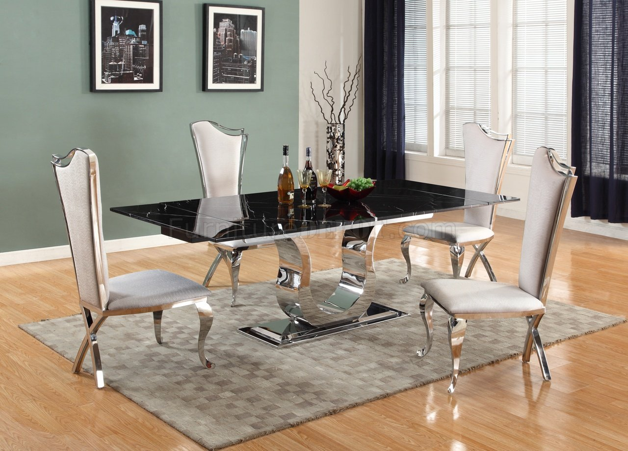 Nadia Dining Table 5Pc Set By Chintaly WBlack Marble Top