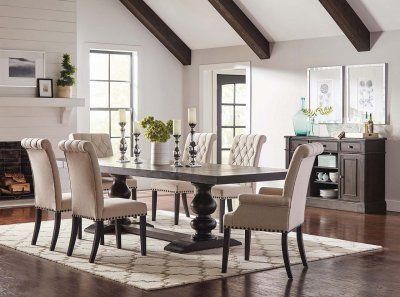 Phelps Dining Table 121231 In Antique Noir By Coaster WOptions