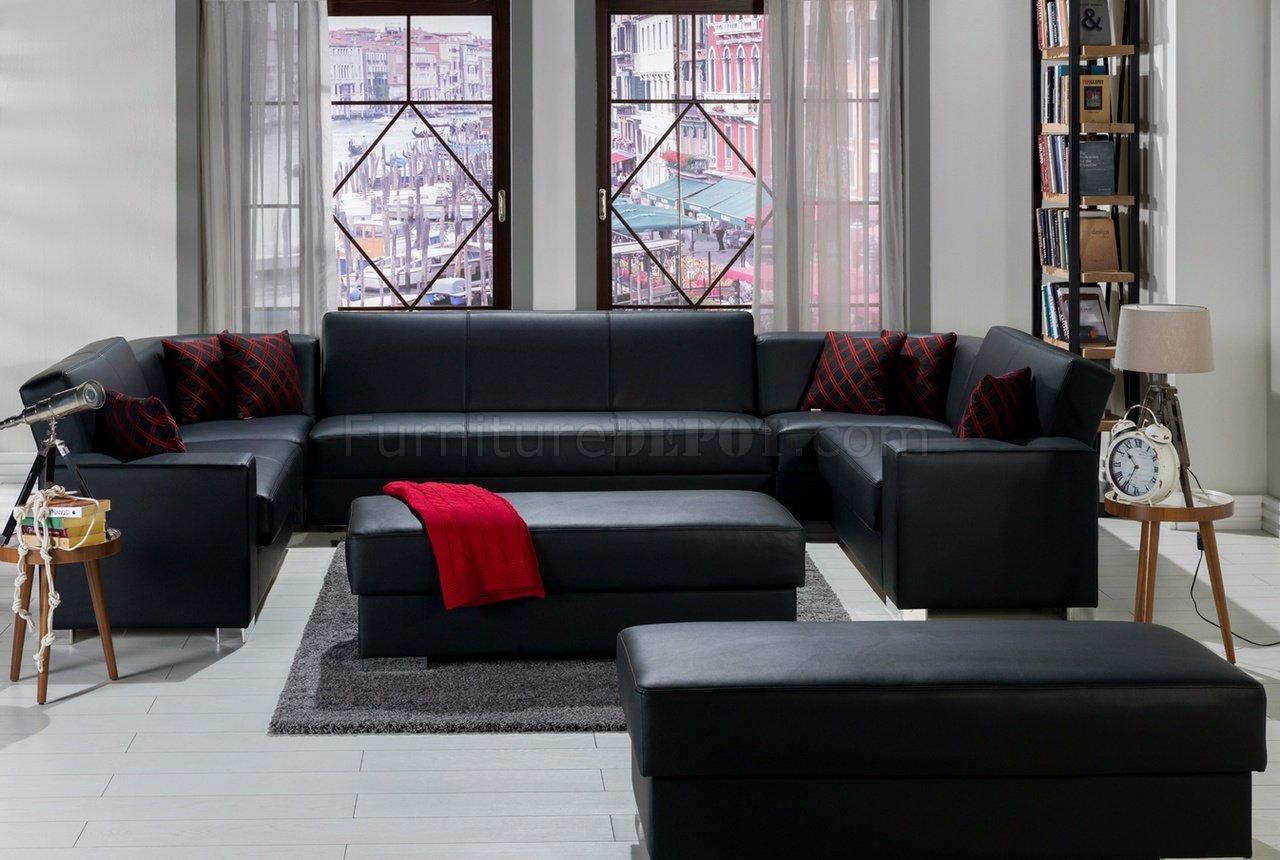 kobe black u shape sectional sofa in pu