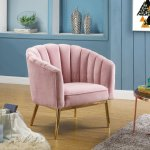 Colla Set Of 2 Accent Chairs 59814 In Pink Velvet Gold By Acme