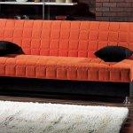 Rio Orange Fabric Convertible Sofa Bed W Black Accents