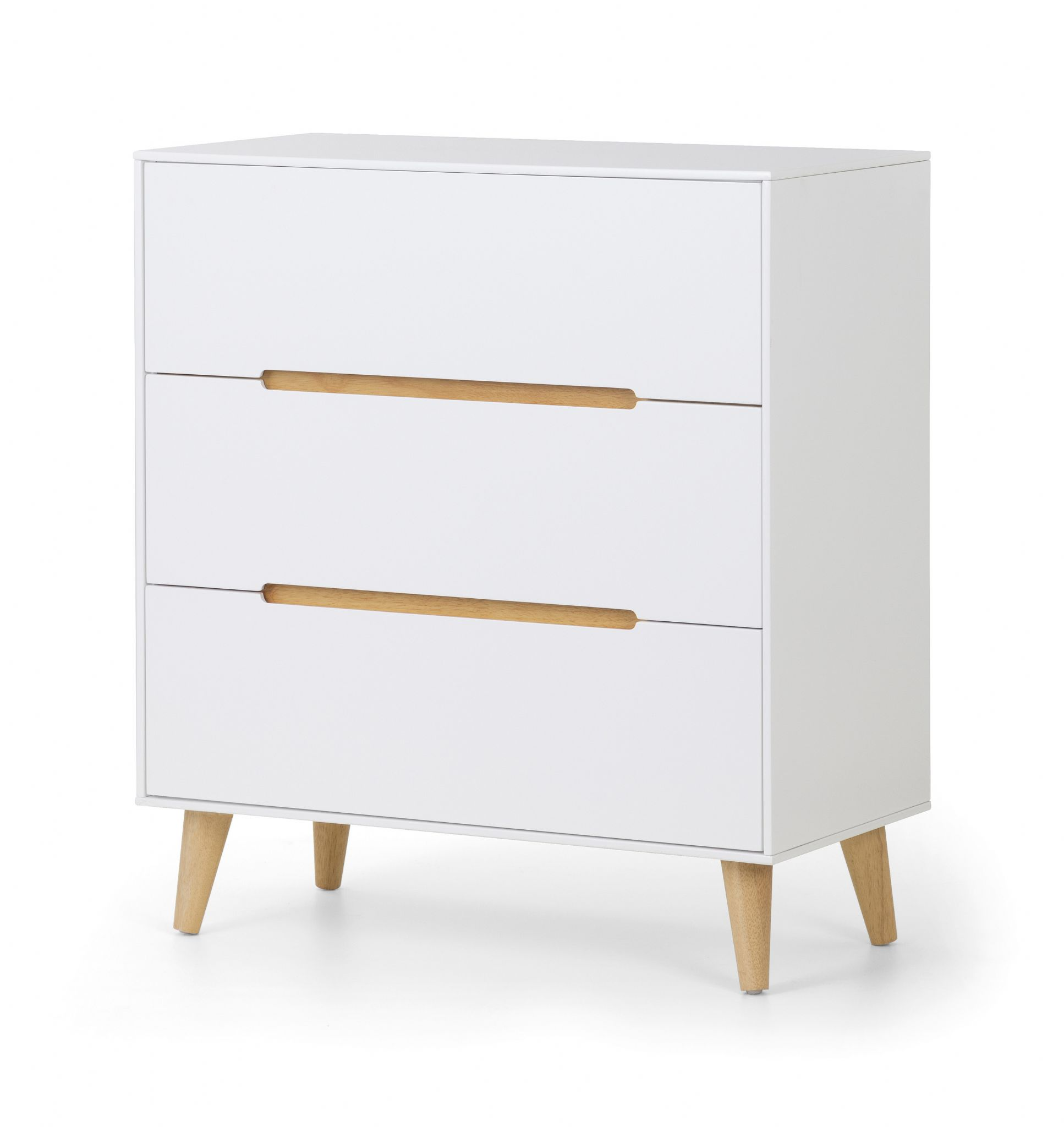 madrid matt white with oak 3 drawer chest jb05