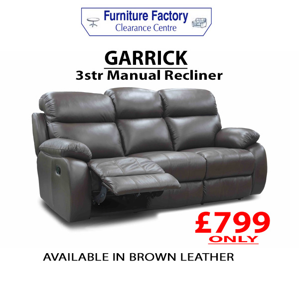 Incredible Garrick Leather 3Str Recliner Sofa Furniture Factory Bralicious Painted Fabric Chair Ideas Braliciousco