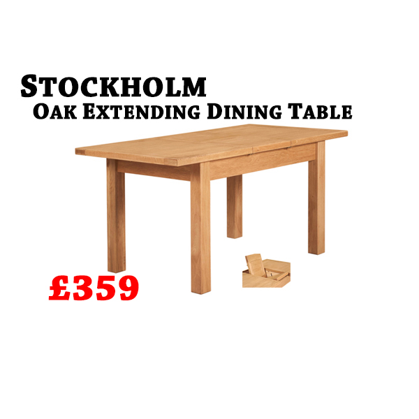 0e22547597d Stockholm Oak Extending Dining Table – Furniture Factory Clearance Centre  Perth