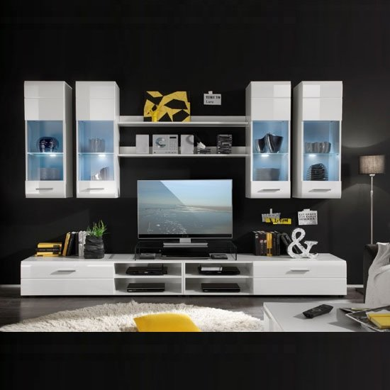 Shot Living Room Furniture Set In White Gloss With LED