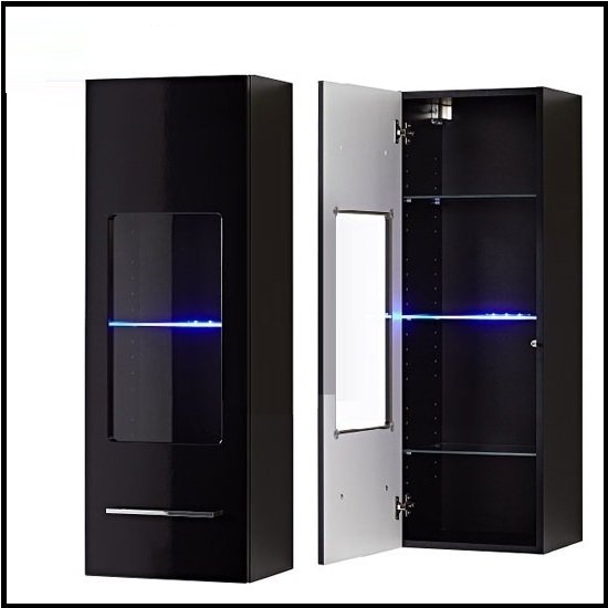 Cool Wall Mount Display Cabinet In Black Gloss With LED